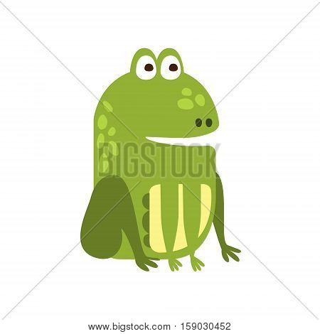 Frog Sitting Properly Flat Cartoon Green Friendly Reptile Animal Character Drawing. Part Of Toad And Its Different Positions And Activities Collection Of Childish Fauna Colorful Vector Illustrations.