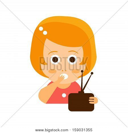 Little Red Head Girl In Red Dress Watching TV Flat Cartoon Character Portrait Emoji Vector Illustration. Part Of Emotional Facial Expressions And Activities Of Small Cute Kid.