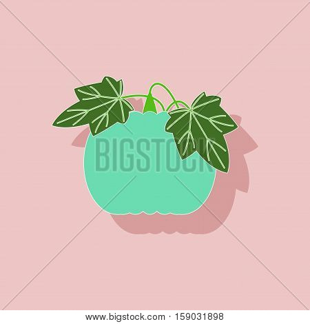 paper sticker on stylish background of plant Cucurbita