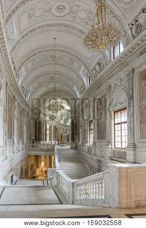 VIENNA, AUSTRIA, JULY 3,2016: Interior detail from Kunsthistorisches Museum (Museum of Art History) an art museum in Vienna, Austria. Housed in its festive palatial building on Ringstrasse.