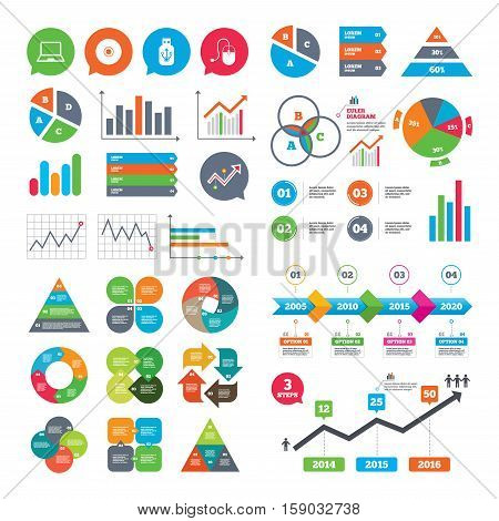 Business charts. Growth graph. Notebook pc and Usb flash drive stick icons. Computer mouse and CD or DVD sign symbols. Market report presentation. Vector