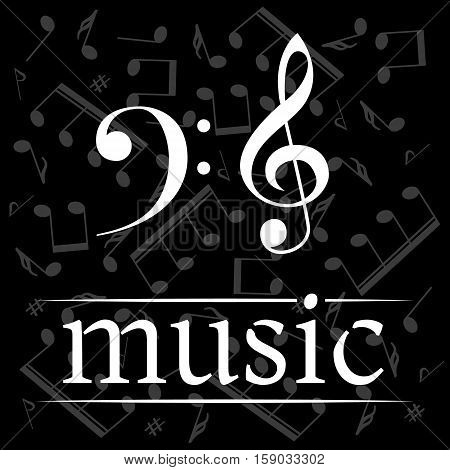 Music poster with treble clef and bass clef. Musical background with clef. Place for your text. Graphic design element for web. Abstract vector illustration.