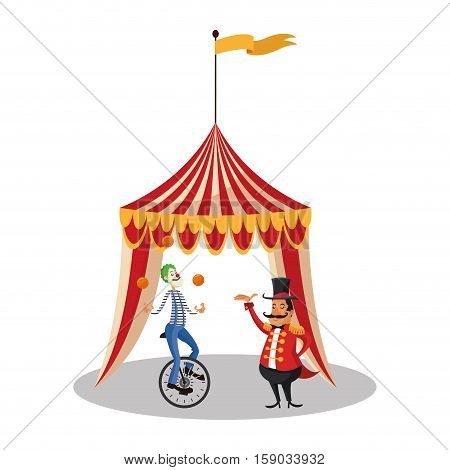 Tent and clown icon. Circus carnival fair fun and show theme. Colorful design. Vector illustration