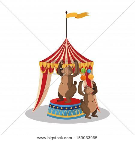 Tent and bear icon. Circus carnival fair fun and show theme. Colorful design. Vector illustration