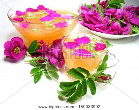 rose punch tea cocktail punch in cup