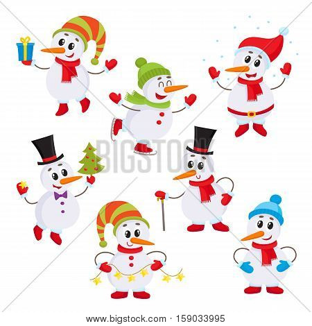 Christmas set of cute and funny little snowmen, cartoon vector illustration isolated on white background. Snowman with Christmas tree, gifts and garland, ice skating, having fun, decoration elements
