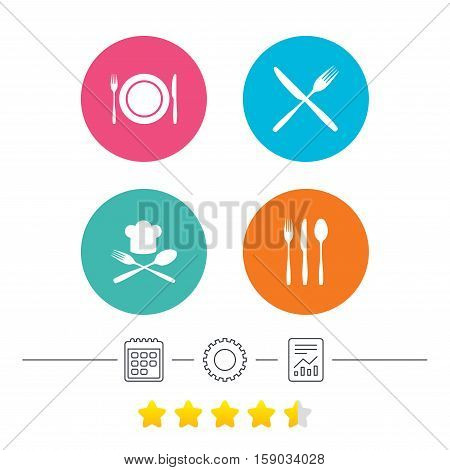 Plate dish with forks and knifes icons. Chief hat sign. Crosswise cutlery symbol. Dining etiquette. Calendar, cogwheel and report linear icons. Star vote ranking. Vector