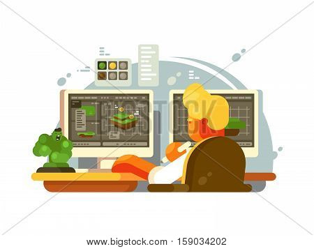 Designer 3D modeling. Creates design on computer model. Vector illustration