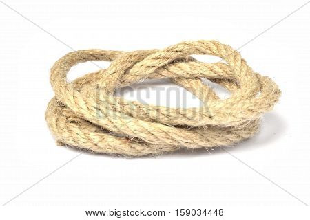 Section of rope on the white background.