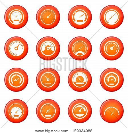 Speedometer icons vector set of red circles isolated on white background