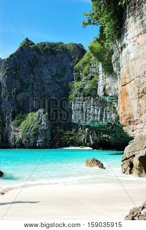 The beach and turquoise water of Indian Ocean Phi Phi island Thailand