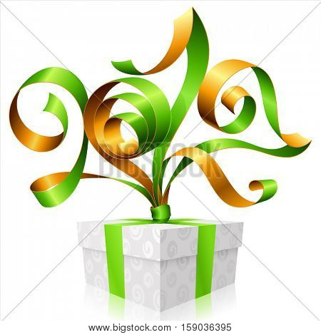 Vector green ribbon and gift box isolated on white background. Symbol of New Year 2017