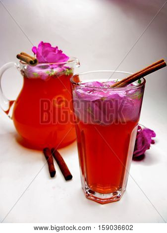 rose punch tea cocktail punch in jug and cup