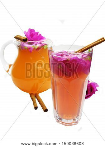 rose punch tea cocktail punch with cinnamon in jug and cup