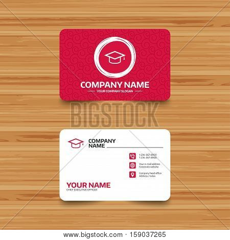Business card template with texture. Graduation cap sign icon. Higher education symbol. Phone, web and location icons. Visiting card  Vector