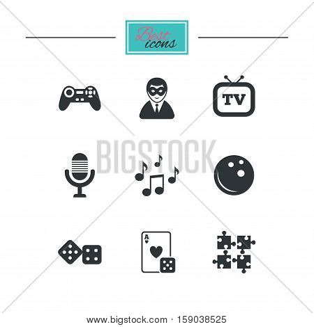 Entertainment icons. Game, bowling and puzzle signs. Casino, carnival and musical note symbols. Black flat icons. Classic design. Vector