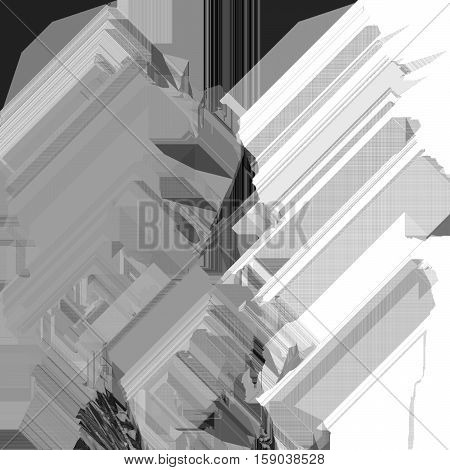 Texture of glitch manipulations. Grunge modern background with dead pixel and bug glitch and error signal. It can be used for web design and visualization of music. Monochrome.