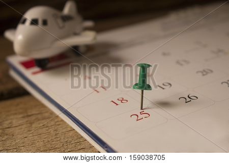 calendar with pin on christmas day concept for christmas and new year .