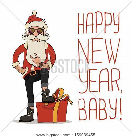 Trendy hipster Santa Claus hand-drawn vector illustration with festive christmas accessories