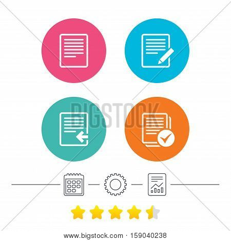 File document icons. Upload file symbol. Edit content with pencil sign. Select file with checkbox. Calendar, cogwheel and report linear icons. Star vote ranking. Vector