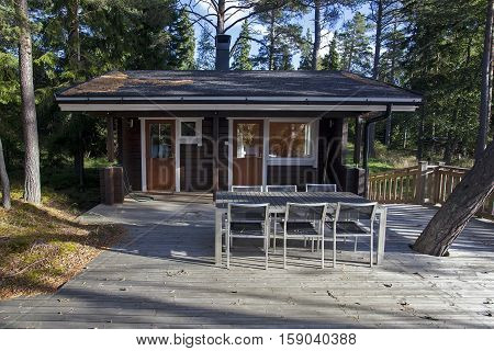Vihti Finland - September 27 2014: Sauna on the island