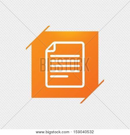 File document icon. Download doc button. Doc file symbol. Orange square label on pattern. Vector