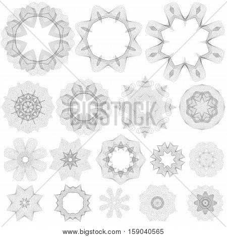 Set of Guilloche Decorative Elements Isolated on White Background. Rosettes Collection