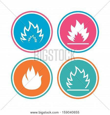 Fire flame icons. Heat symbols. Inflammable signs. Colored circle buttons. Vector