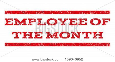 Employee Of The Month watermark stamp. Text caption between horizontal parallel lines with grunge design style. Rubber seal stamp with scratched texture.