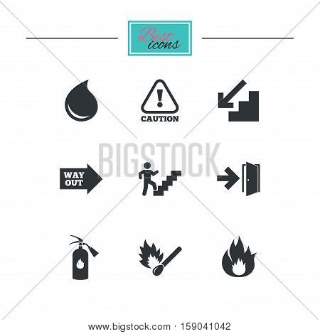 Fire safety, emergency icons. Fire extinguisher, exit and attention signs. Caution, water drop and way out symbols. Black flat icons. Classic design. Vector