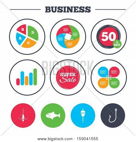 Business pie chart. Growth graph. Fishing icons. Fish with fishermen hook sign. Float bobber symbol. Super sale and discount buttons. Vector