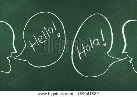 Speaking learning studying spanish language concept on chalkboard