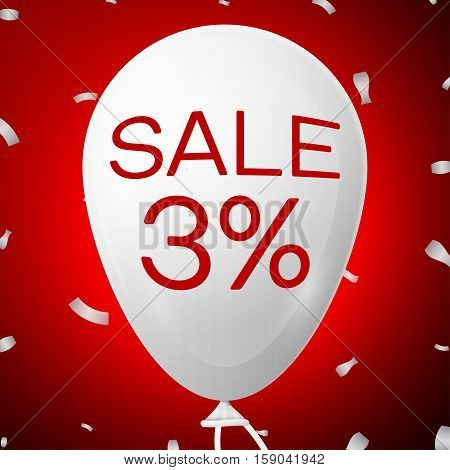 White Baloon with text Sale 3 percent Discounts. SALE concept for shops store market, web and other commerce. Vector illustration