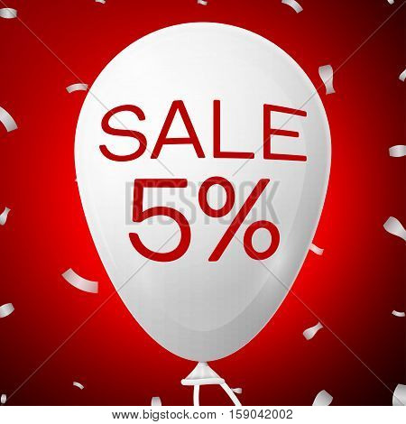 White Baloon with text Sale 5 percent Discounts. SALE concept for shops store market, web and other commerce. Vector illustration