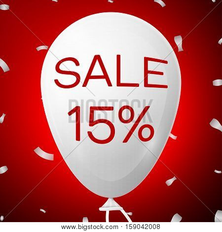 White Baloon with text Sale 15 percent Discounts. SALE concept for shops store market, web and other commerce. Vector illustration