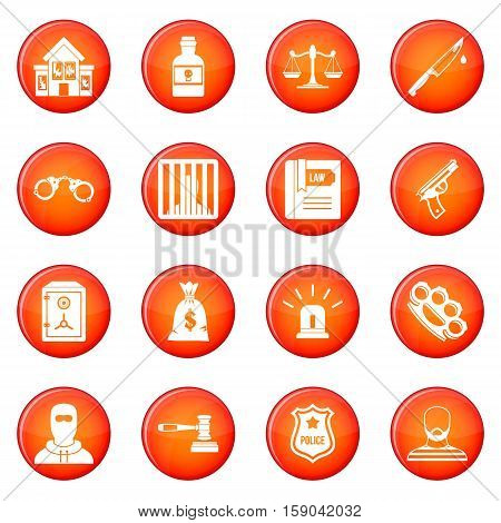 Crime and punishment icons vector set of red circles isolated on white background