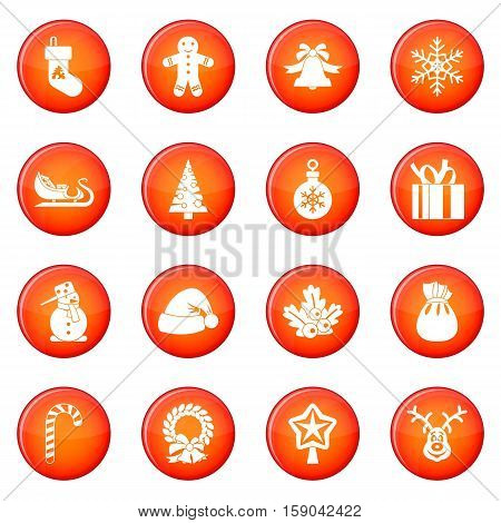 Christmas icons vector set of red circles isolated on white background
