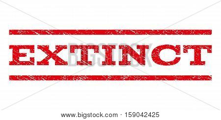 Extinct watermark stamp. Text caption between horizontal parallel lines with grunge design style. Rubber seal stamp with scratched texture. Vector red color ink imprint on a white background.