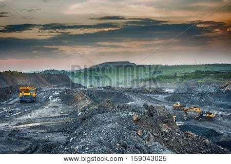 PROKOPYEVSK, KEMEROVO REGION, RUSSIA - DECEMBER 7, 2016: Production of coal in the coal mine