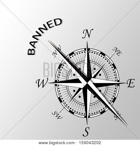 Illustration of banned written aside a compass