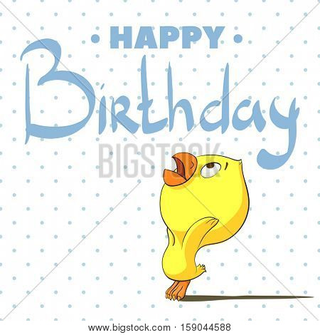 Chicken on a stylish background with the words Happy Birthday