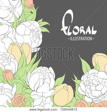 Inspiring flowers for gift girlfriend, on a black background. Peonies, roses, tulips