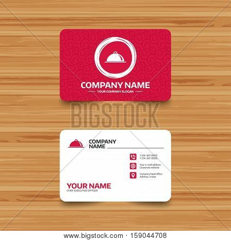 Business card template with texture. Food platter serving sign icon. Table setting in restaurant symbol. Phone, web and location icons. Visiting card  Vector