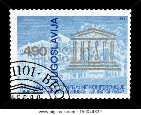 YUGOSLAVIA - CIRCA 1980 : Cancelled postage stamp printed by Yugoslavia, that shows UNESCO Conference in Kotor.