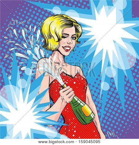 Vector illustration of woman with opened bottle of champagne in pop art retro comic style. Champagne splashes. Celebration event.