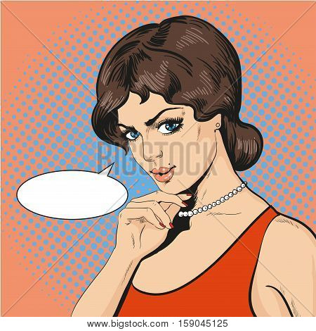 Vector Illustration of thinking woman in retro pop art comic style. Girl is holding on to chin with her right hand. Speech bubble.