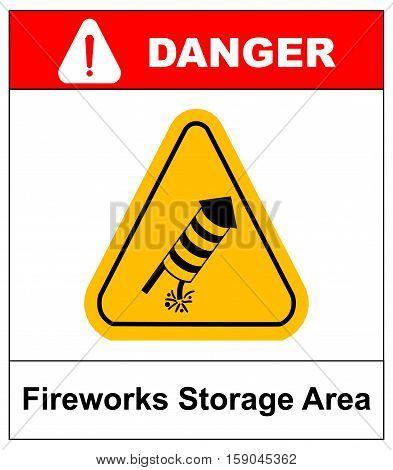 Vector warning icon. No Fireworks danger sign in yellow triangle isolated on white. Fireworks storage area, explosives, keep out. No pirotechnics