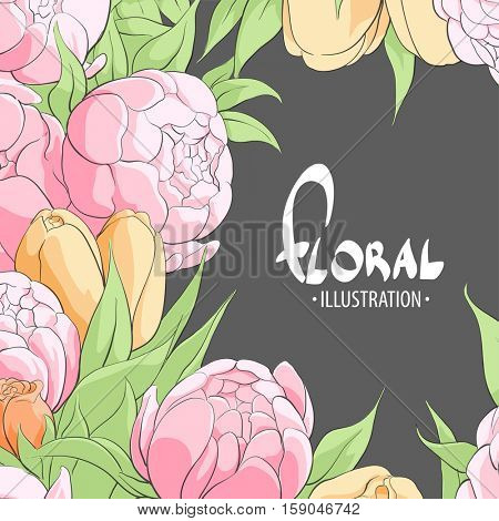 Gentle peonies, roses, tulips for you on a black background with a place for inscriptions and greetings