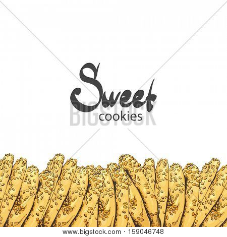 Sweet cookies with sesame seeds on a white background
