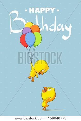 two chicken with festive balls on a blue background and the words Happy birthday